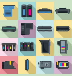 Cartridge icons set flat style vector