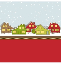 Christmas card cute little town in winter vector image