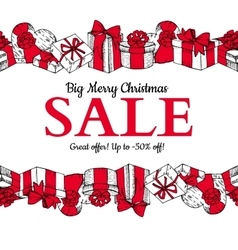 Christmas sale banner Hand drawn holiday vector image
