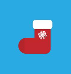 christmas sock flat style eps10 vector image
