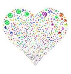 Cog fireworks heart vector
