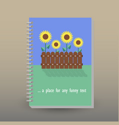 Cover of diary sunflower garden vector
