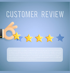 Customer experience review hand holding star vector