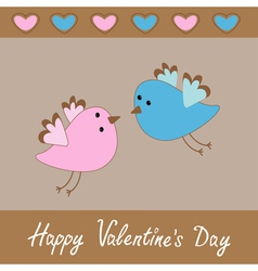 Cute birds Happy Valentines Day card vector image