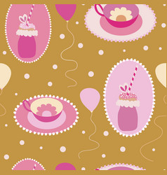 cute freakyshakes teacups and ballons seamless vector image