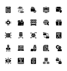 Data management glyph icons vector