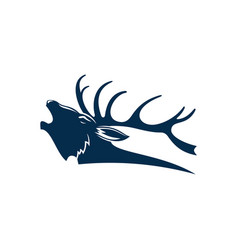 Deer head with antlers profile view buck mascot vector