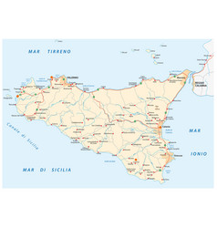 Detailed road map island sicily italy vector