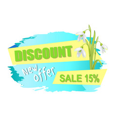 Discount new offer sale 15 advertisement label vector