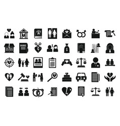 Divorce icons set simple style vector