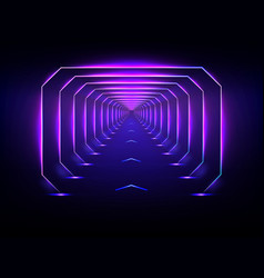 Endless futuristic tunnel glowing neon vector