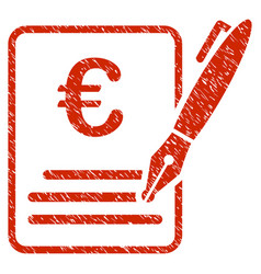 Euro contract signature icon grunge watermark vector