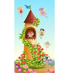 Fairies flying around tower vector