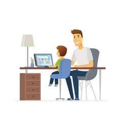 Father and son at laptop - cartoon people vector