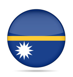 Flag of nauru shiny round button vector
