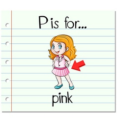 Flashcard letter P is for pink vector