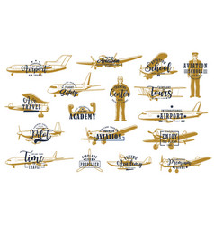 Flight airline planes icons aviation fly airport vector