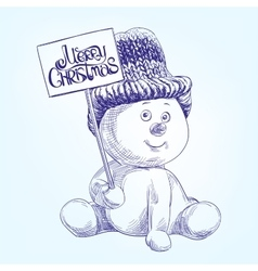 Funny christmas snowman hand drawn vector