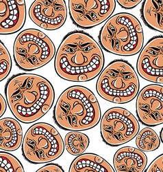 Funny faces seamless background cartoon style vector image