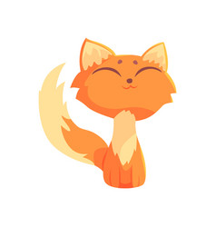 funny red kitten sitting on the floor with closed vector image