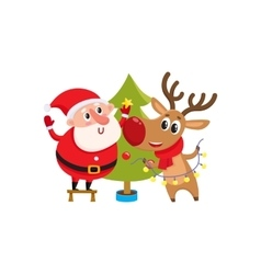 Funny Santa Claus and reindeer decorating vector image