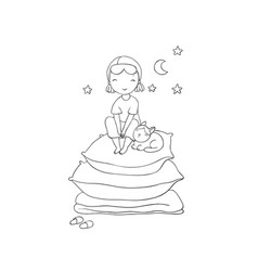 Girl and cats good night sweet dreams vector