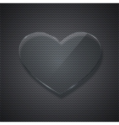 glass heart on metal grid background vector image