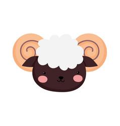 Goat face farm animal cartoon background vector
