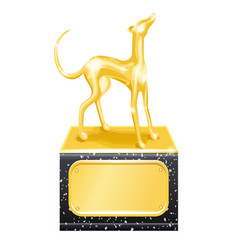 golden trophy dog racing vector image