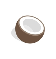 Half of coconut icon isometric 3d style vector