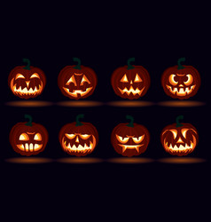 Halloween carved pumpkin face emotions set jack o vector