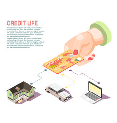 hand holding card isometric concept vector image