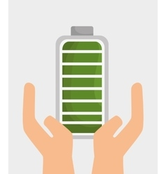 Hand holds battery ecology icon graphic design vector