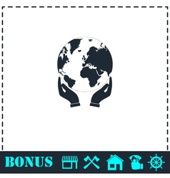 Hands holding globe earth icon flat vector