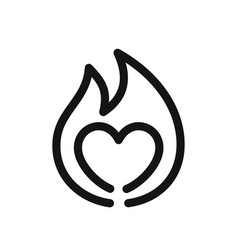 heart sign on fire symbol of passion simple line vector image