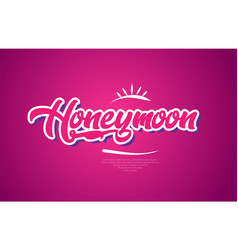 Honeymoon word text typography pink design icon vector