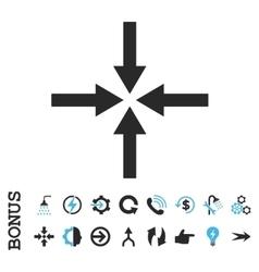 Impact arrows flat icon with bonus vector