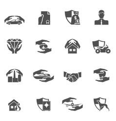 Insurance icons black vector