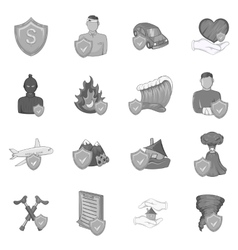 Insurance icons set black monochrome style vector