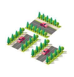 isometric set red passenger car vector image