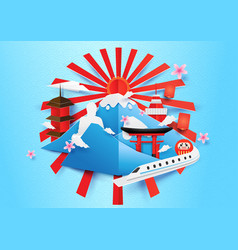 japan travel concept background paper art style vector image