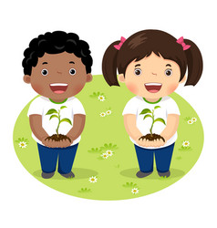 Kids holding young plant vector