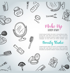 Make up hand drawn background doodle beauty items vector