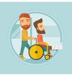 Man pushing wheelchair with patient vector