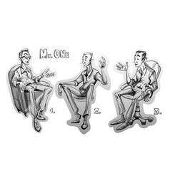 Man sitting on a chair sketch storyboard cartoon vector