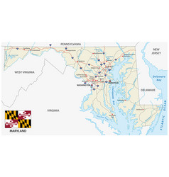 maryland federal state road map with flag vector image