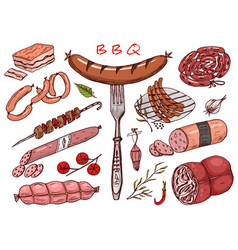 Meat food sausage and steak for bbq and picnic vector