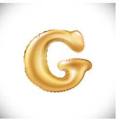 metallic gold g balloons golden letter new year vector image