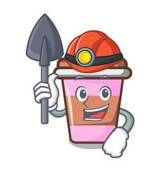 Miner coffee cup mascot cartoon vector