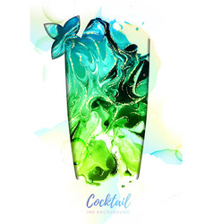 Mojito cocktail with alcohol ink texture vector